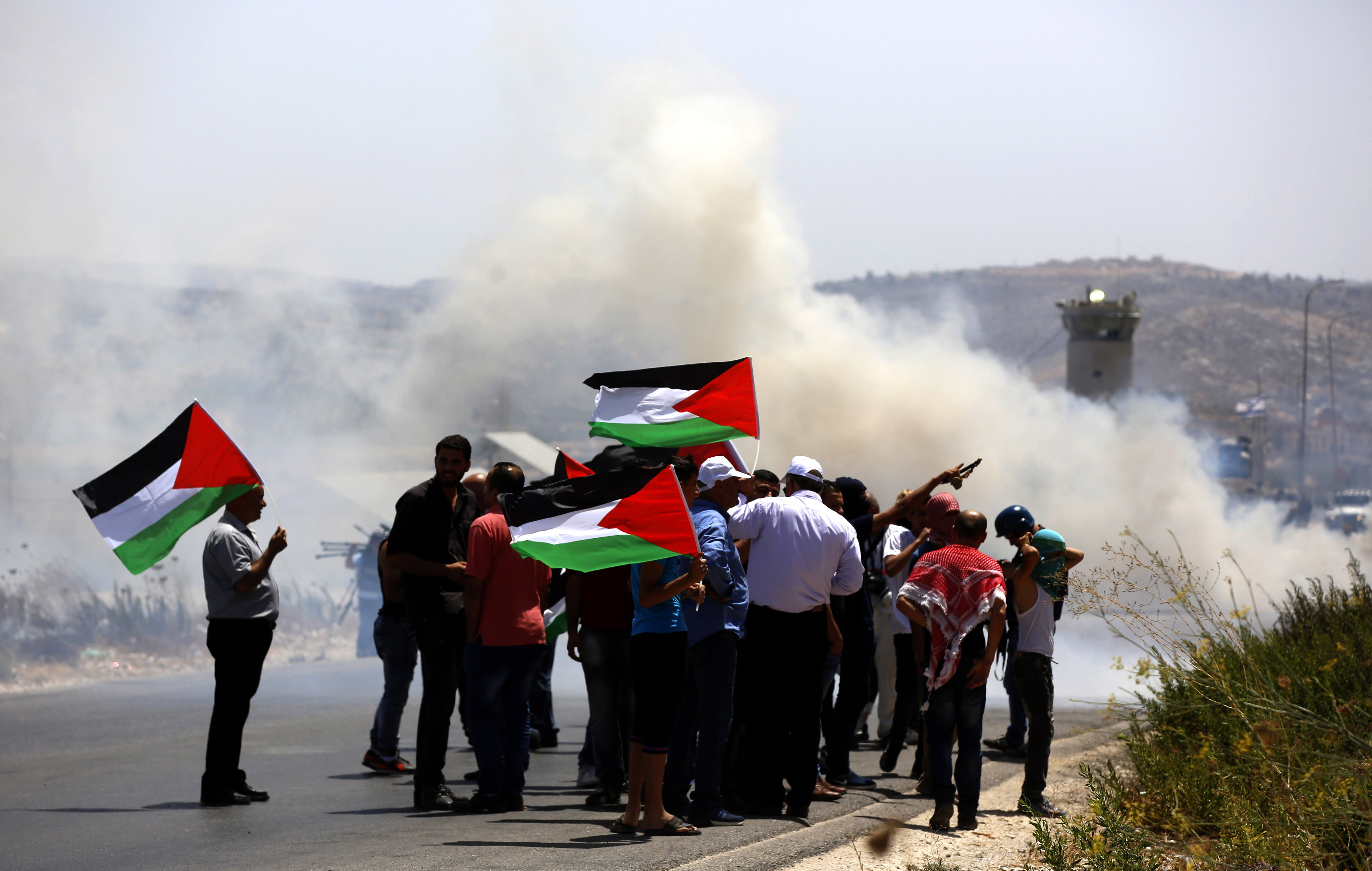 Palestinians protest in support with the al-Aqsa Mosque in Nablus